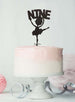 Ballerina Nine 9th Birthday Cake Topper Glitter Card Black