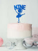 Ballerina Nine 9th Birthday Cake Topper Glitter Card Dark Blue