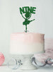 Ballerina Nine 9th Birthday Cake Topper Glitter Card Green