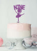 Ballerina Nine 9th Birthday Cake Topper Glitter Card Light Purple