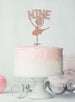 Ballerina Nine 9th Birthday Cake Topper Glitter Card Rose Gold