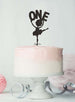 Ballerina One 1st Birthday Cake Topper Glitter Card Black