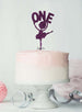Ballerina One 1st Birthday Cake Topper Glitter Card Dark Purple