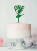 Ballerina One 1st Birthday Cake Topper Glitter Card Green