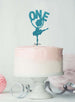 Ballerina One 1st Birthday Cake Topper Glitter Card Light Blue