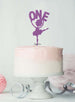 Ballerina One 1st Birthday Cake Topper Glitter Card Light Purple