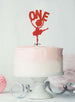 Ballerina One 1st Birthday Cake Topper Glitter Card Red