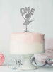 Ballerina One 1st Birthday Cake Topper Glitter Card Silver