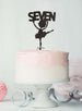 Ballerina Seven 7th Birthday Cake Topper Glitter Card Black