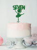Ballerina Seven 7th Birthday Cake Topper Glitter Card Green