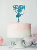 Ballerina Seven 7th Birthday Cake Topper Glitter Card Light Blue