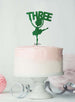 Ballerina Three 3rd Birthday Cake Topper Glitter Card Green