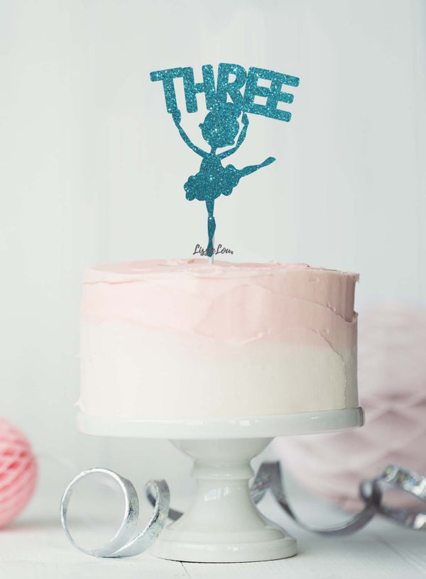 Ballerina Three 3rd Birthday Cake Topper Glitter Card Light Blue