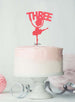 Ballerina Three 3rd Birthday Cake Topper Glitter Card Light Pink