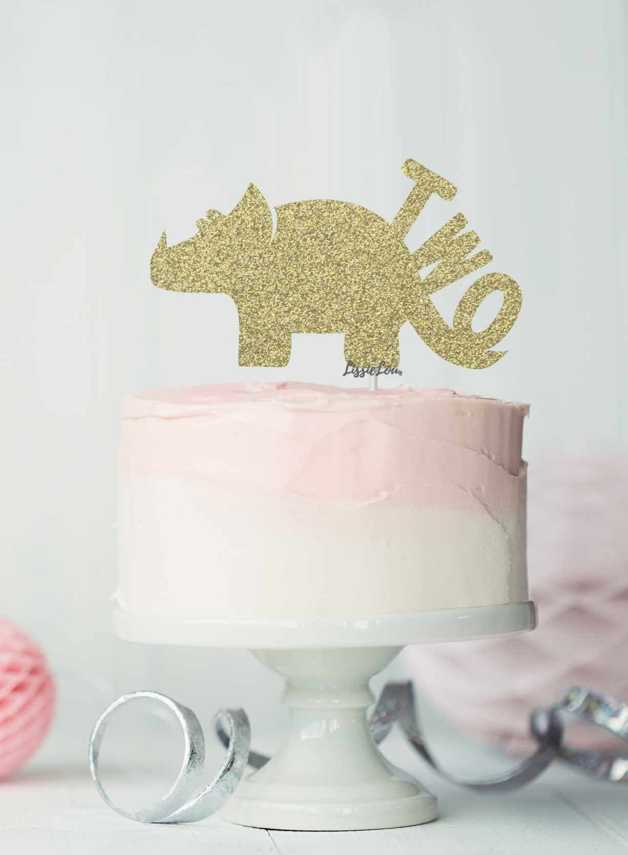 Dinosaur Two 2nd Birthday Cake Topper Glitter Card Gold