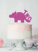 Dinosaur Two 2nd Birthday Cake Topper Glitter Card Hot Pink