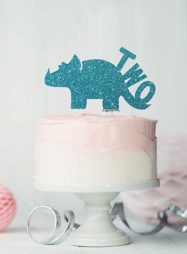 Dinosaur Two 2nd Birthday Cake Topper Glitter Card Light Blue