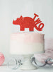 Dinosaur Two 2nd Birthday Cake Topper Glitter Card Red