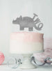Dinosaur Two 2nd Birthday Cake Topper Glitter Card Silver