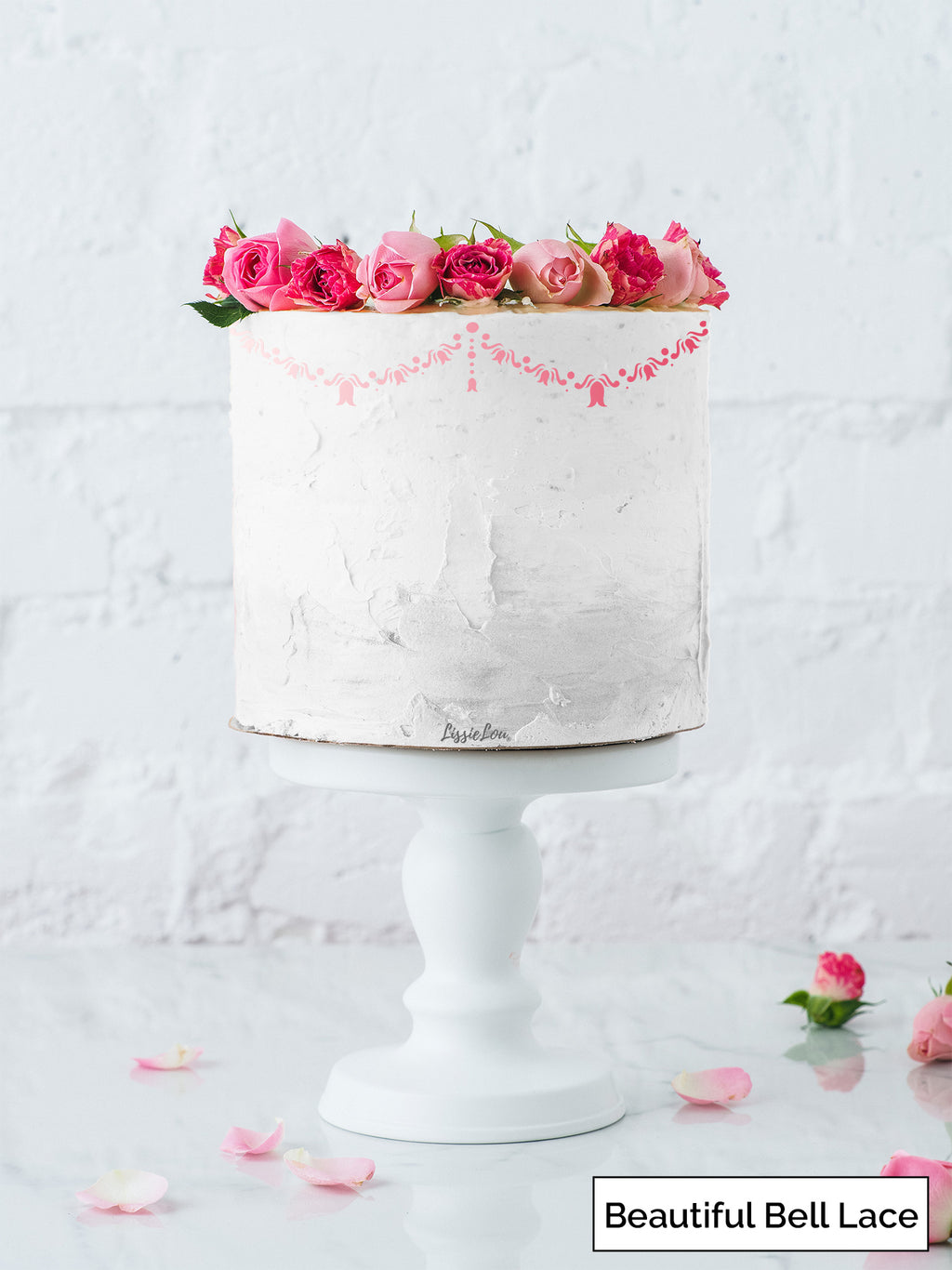 Beautiful Bell Lace Cake Stencil - Border Design