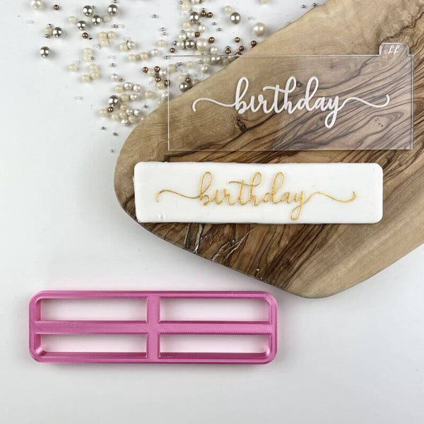 Birthday in Verity Font Cookie Cutter and Embosser