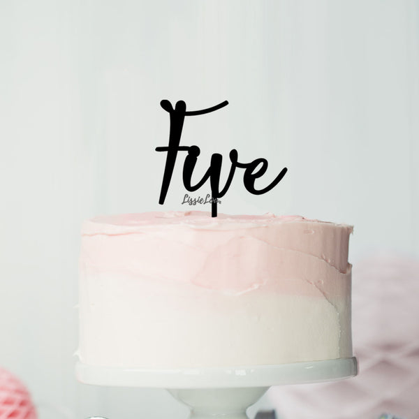 Number Five Birthday Cake Topper Eden Font Style in Premium 3mm Acrylic or Birch Wood