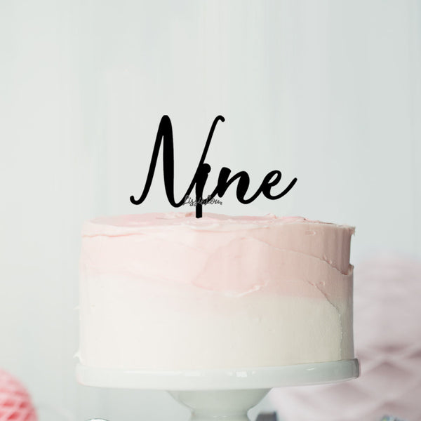 Number Nine Birthday Cake Topper Eden Font Style in Premium 3mm Acrylic or Birch Wood