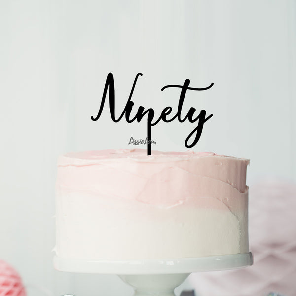 Number Ninety Birthday Cake Topper Eden Font Style in Premium 3mm Acrylic or Birch Wood