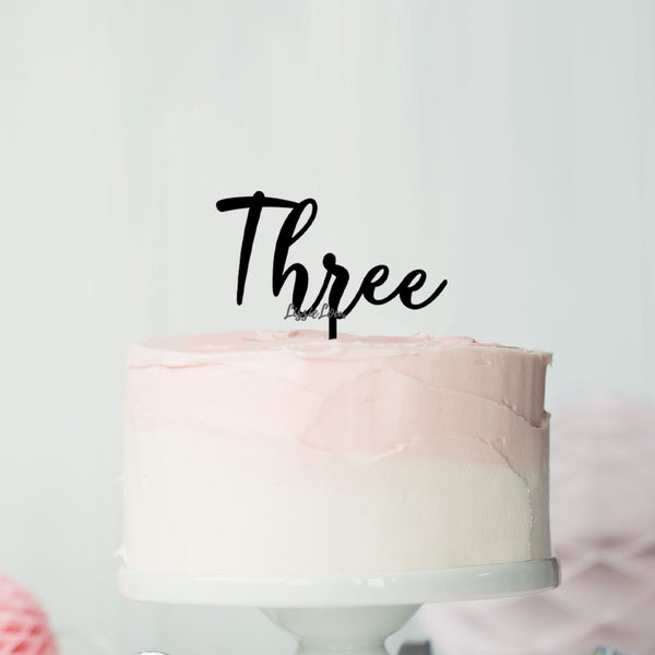 Number Three Birthday Cake Topper Eden Font Style in Premium 3mm Acrylic or Birch Wood