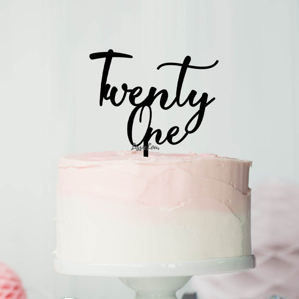 Number Twenty One Birthday Cake Topper Eden Font Style in Premium 3mm Acrylic or Birch Wood