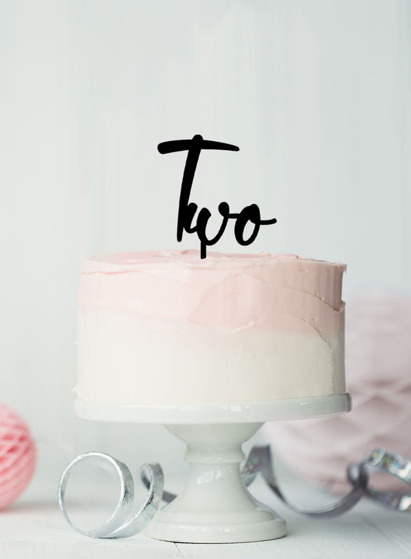 Number Two Birthday Cake Topper Eden Font Style in Premium 3mm Acrylic or Birch Wood