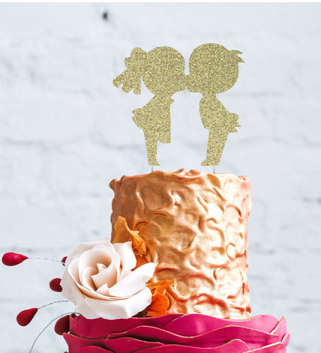Girl and Boy Kissing Cake Topper Gold