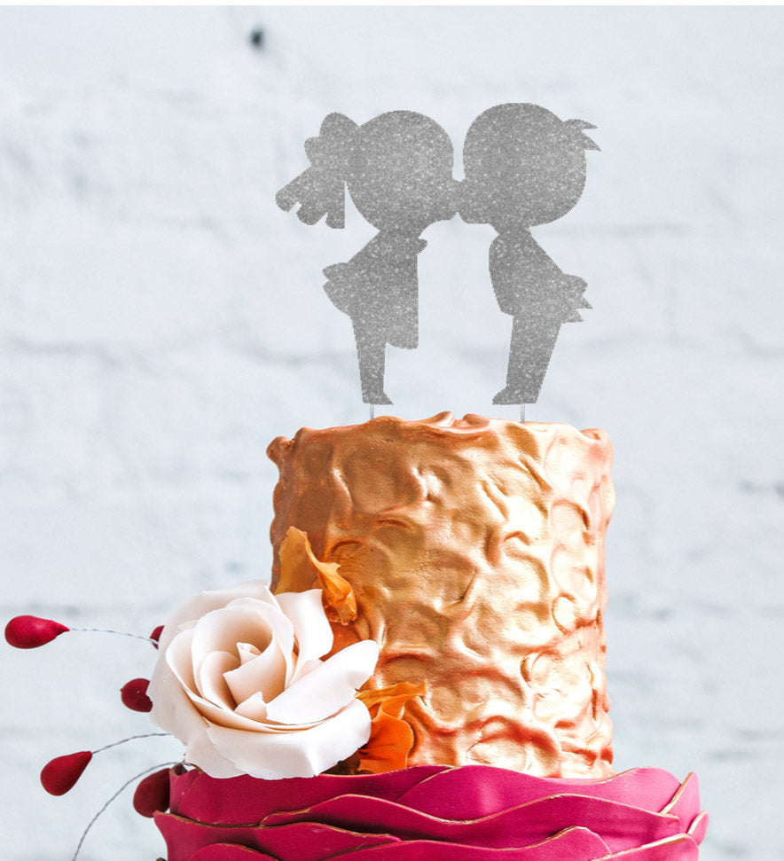 Girl and Boy Kissing Wedding Cake Topper Glitter Silver