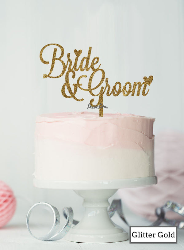 Bride and Groom Wedding Cake Topper  Premium 3mm Acrylic Glitter Gold