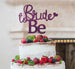 Bride to Be with Heart Hen Party Cake Topper Glitter Card Dark Purple