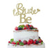 Bride to Be with Heart Hen Party Cake Topper Glitter Card Gold