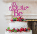 Bride to Be with Heart Hen Party Cake Topper Glitter Card Hot Pink