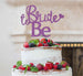 Bride to Be with Heart Hen Party Cake Topper Glitter Card Light Purple