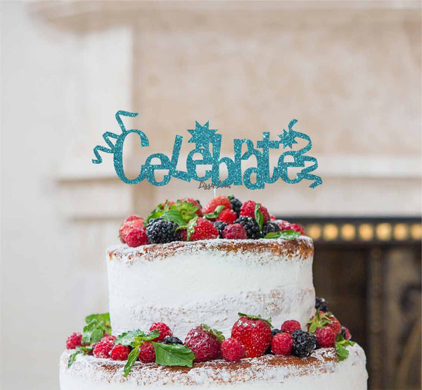Celebrate Cake Topper Glitter Card Light Blue