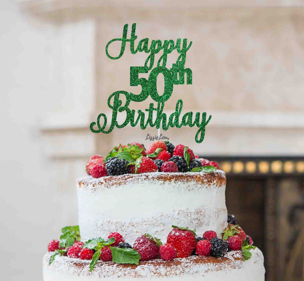 Happy 50th Birthday Pretty Cake Topper Glitter Card Green