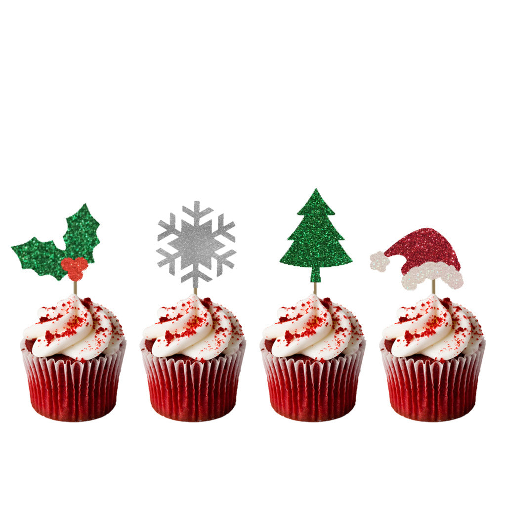 Christmas Cupcake Toppers.Christmas Mixed Cupcake Toppers Pack Of 8