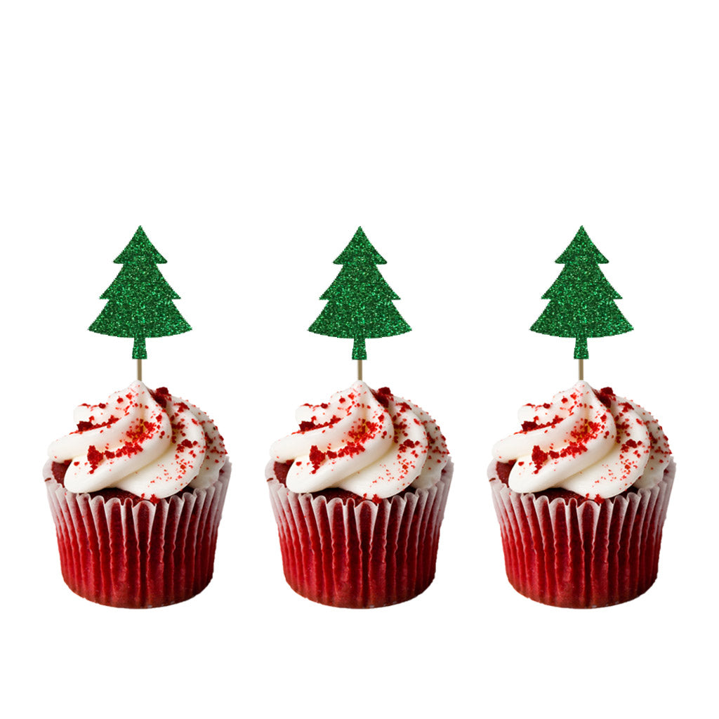 Christmas Tree Cupcake Toppers - Pack of 8 - Glittery Card
