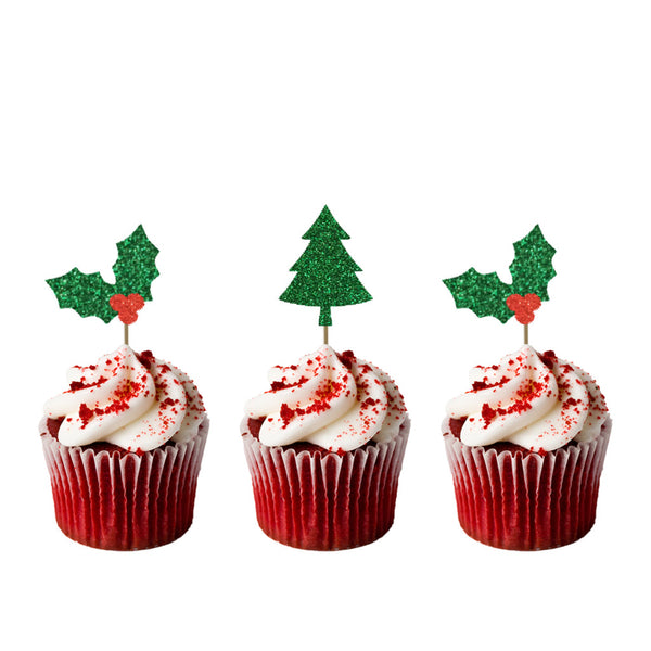 Christmas Tree and Holly Cupcake Toppers - Pack of 8 - Glitter Card