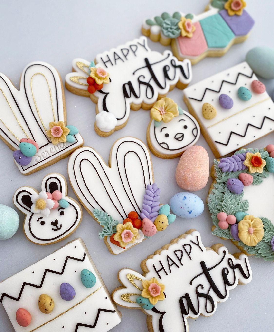 Happy Easter Style 4 with Ears and Tail Cookie Cutter and Embosser