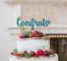 Congrats Cake Topper Glitter Card Light Blue