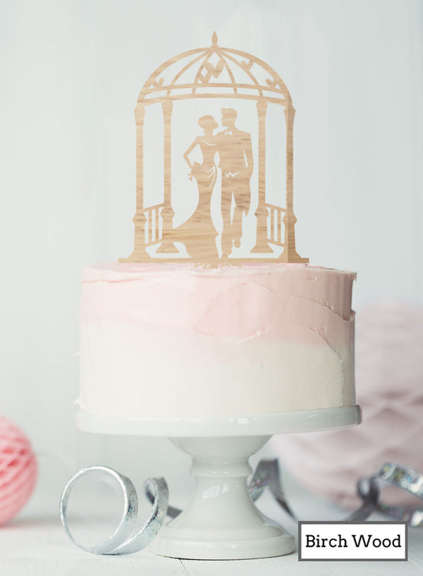 Silhouette Couple Under Pergola Wedding Cake Topper Premium 3mm Birch Wood