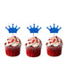 Crown Cupcake Toppers - Pack of 10 - Glittery Light Blue