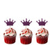 Crown Cupcake Toppers - Pack of 10 - Glittery Black