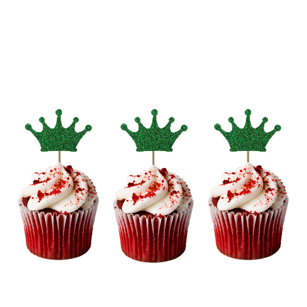Crown Cupcake Toppers - Pack of 10 - Glittery Green
