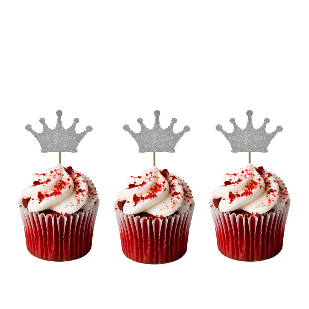 Crown Cupcake Toppers - Pack of 10 - Glittery Silver